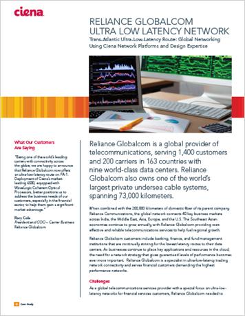 Reliance Globalcom Ultra Low Latency Network