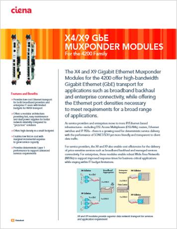 X4/X9 GbE Muxponder Modules product data sheet